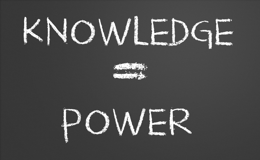 Knowledge is power written on a chalkboard