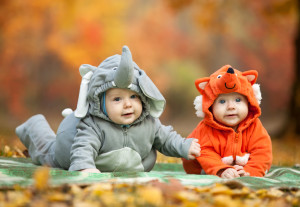 Babies in Halloween costumes