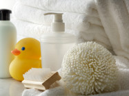 small baby toiletries with rubber duck