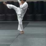 young boy doing karate
