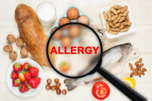 Allergy food concept. Food on wooden table